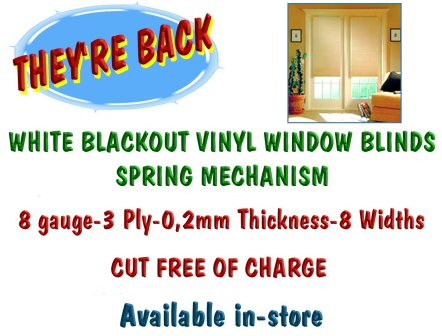 White Blackout Vinyl Window Blinds spring mechanism